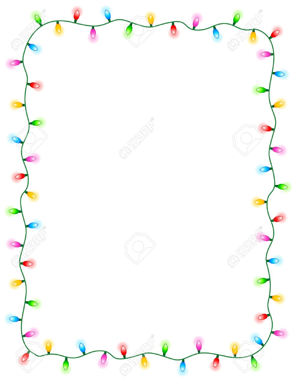 Colorful glowing christmas lights border / frame. Colorful holiday...