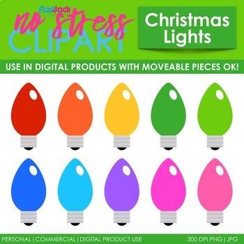 Christmas Light Bulbs Clip Art (Digital Use Ok!).
