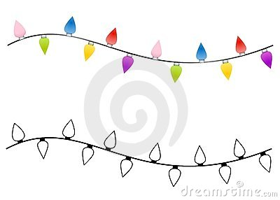 String Of Christmas Lights Clipart Black And White.