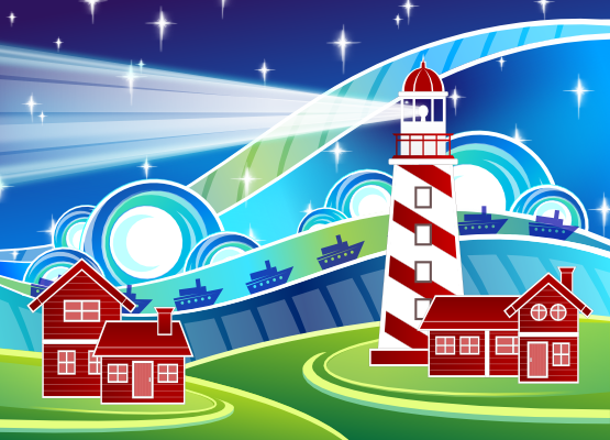 clipartist.net » Clip Art » card stylised lighthouse scenery xmas.