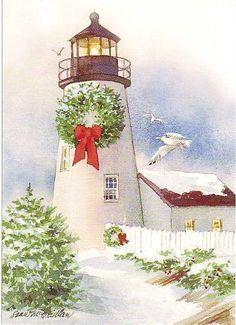 Snowy Christmas lighthouse.