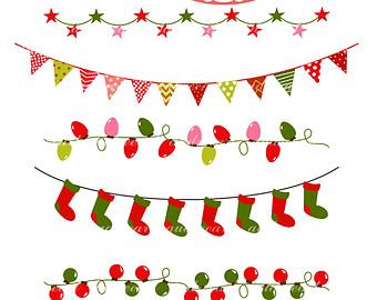 Christmas Lights Banner Clip Art.