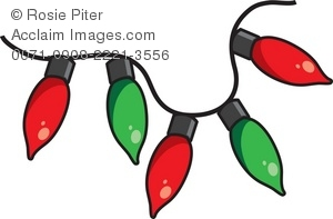 Clip Art Illustration Of A String Of Red And Green Christmas.