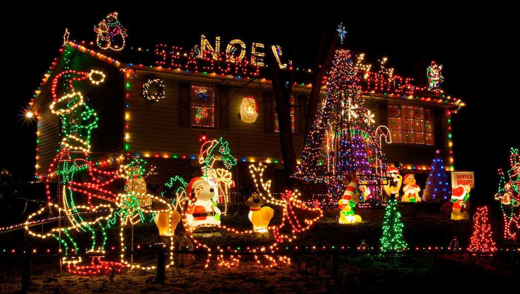 Beautiful Christmas Lights On Houses.