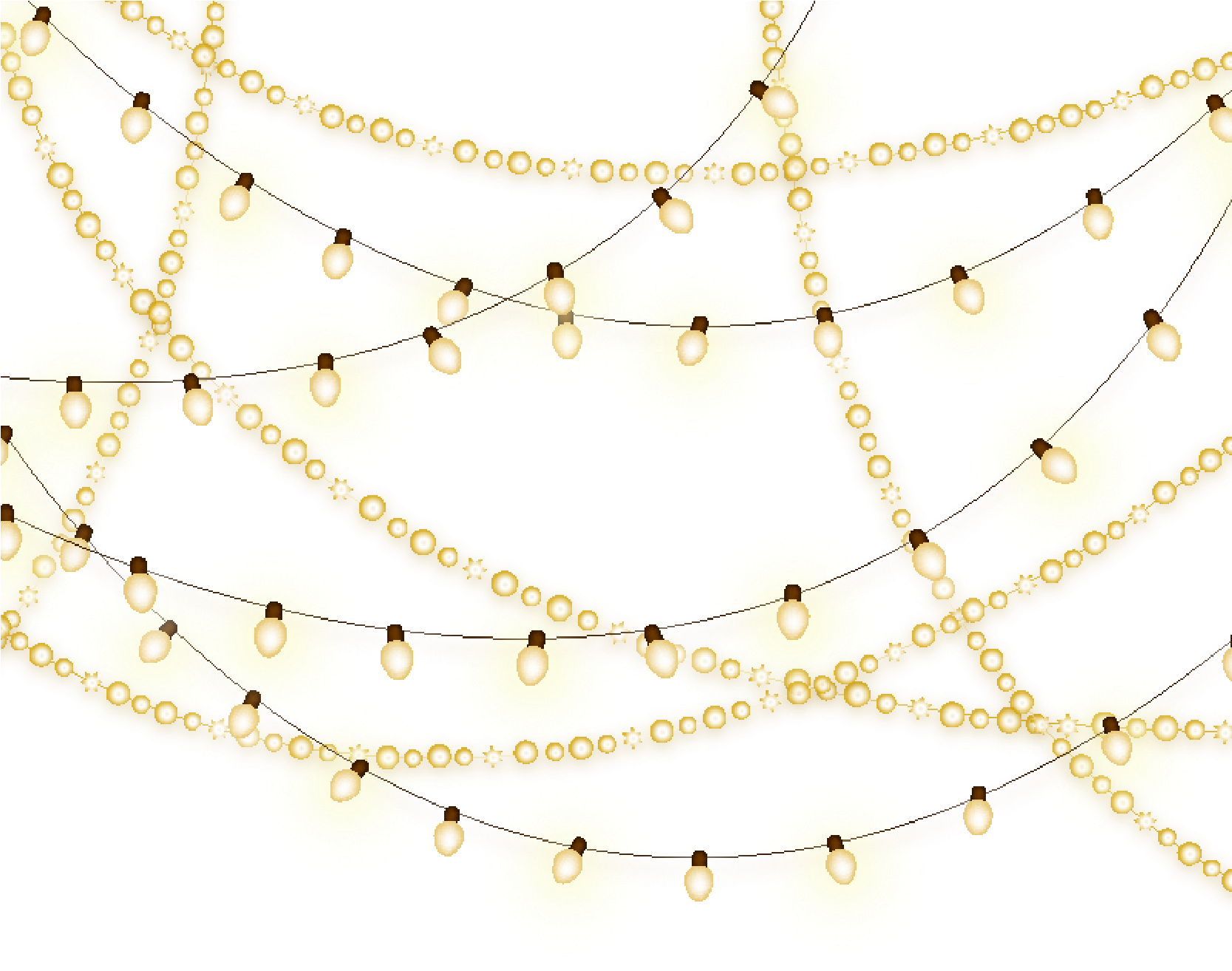 HD White Christmas Lights Png Transparent Background.