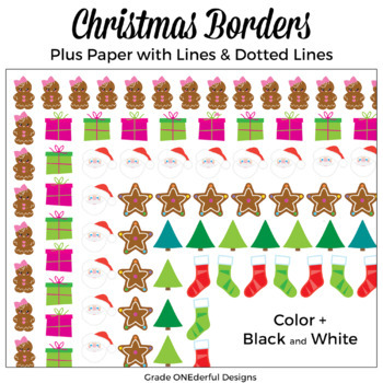 Christmas Borders Clip Art plus lined paper.