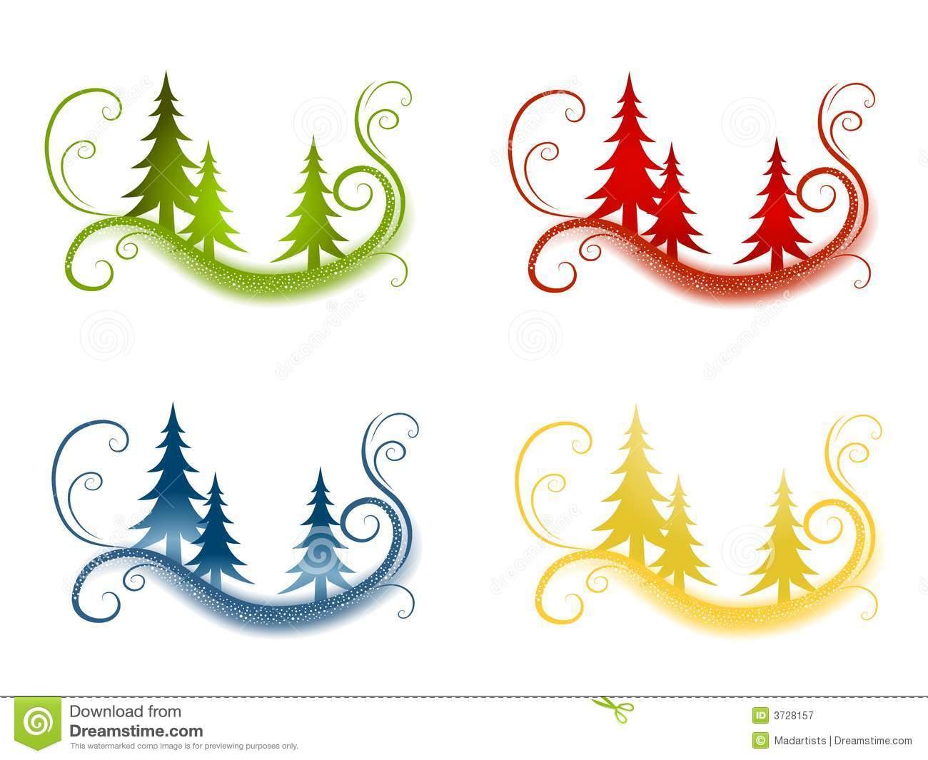 Decorative Christmas Tree Backgrounds Stock Illustration.