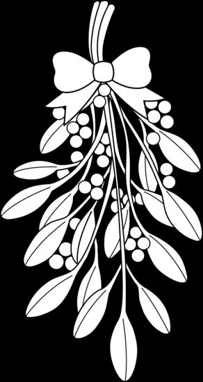 Christmas Mistletoe Line Art.