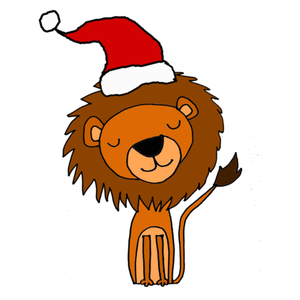 Awesome Funny Lion In Santa Hat Christmas Art.