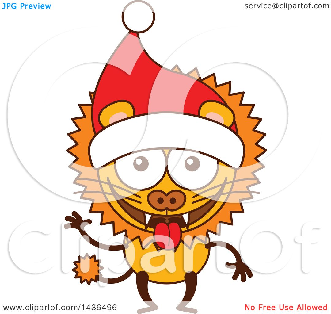 Clipart of a Cartoon Christmas Lion Wearing a Santa Hat.