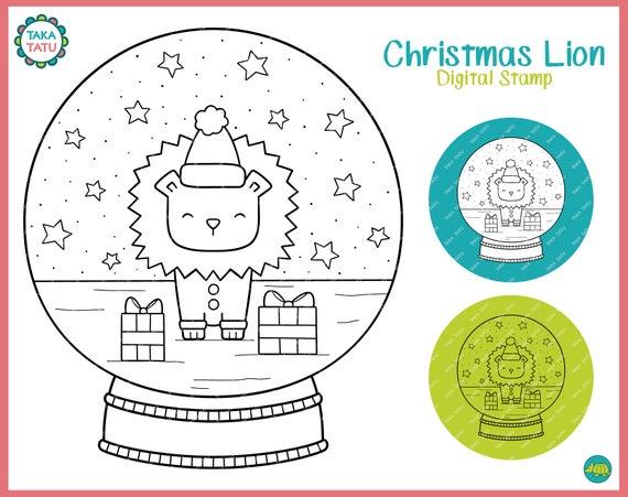 Christmas Lion Stamp.