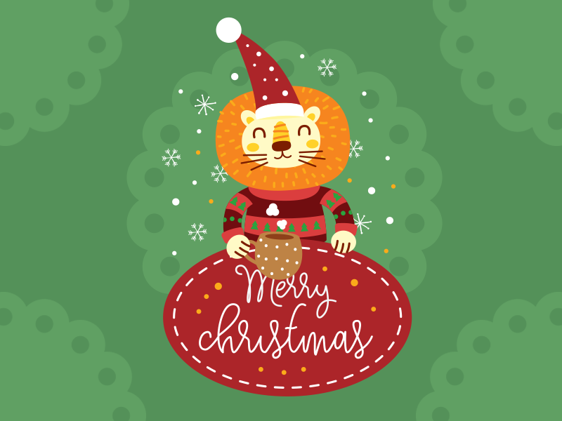 Christmas Lion Illustration Badge by Manu on Dribbble.