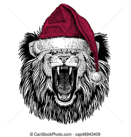 Lion Christmas illustration Wild animal wearing christmas santa claus hat  Red winter hat Holiday picture Happy new year.