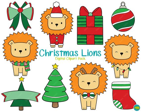 Christmas Lions Clipart Set.