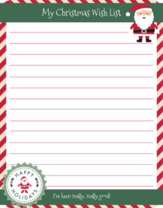 Free Christmas Wish List Printable.