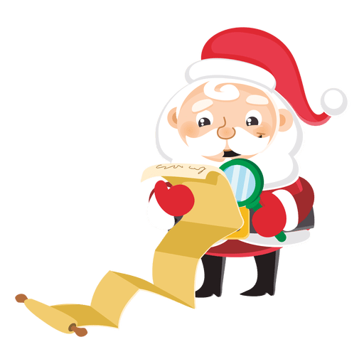 Santa with large gift list.