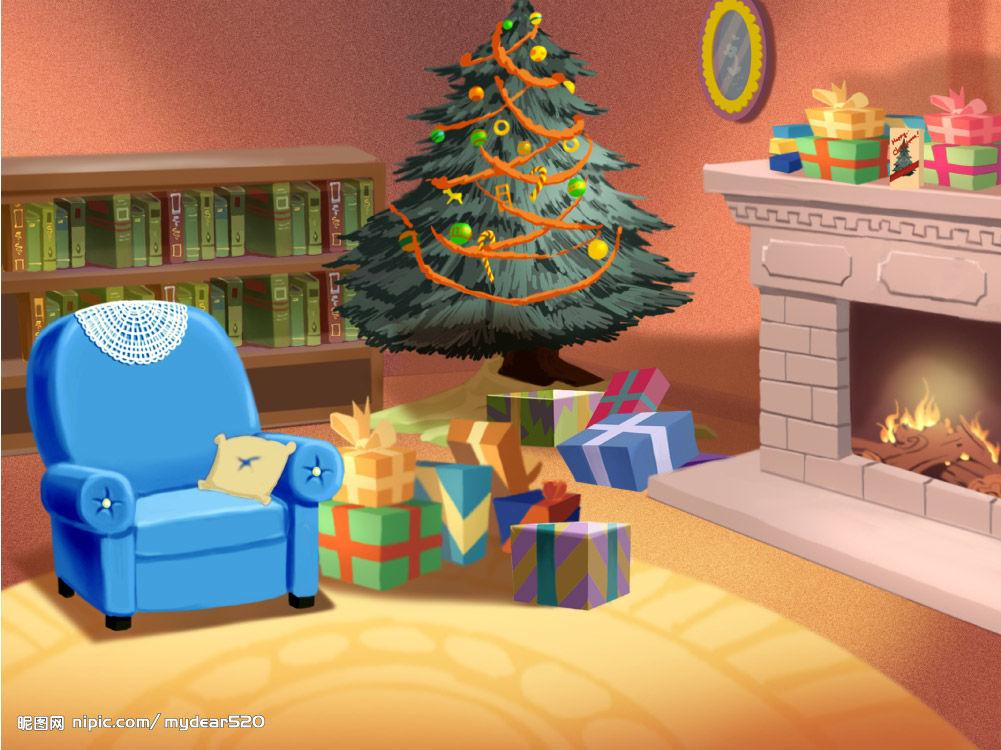 Christmas living room clipart.