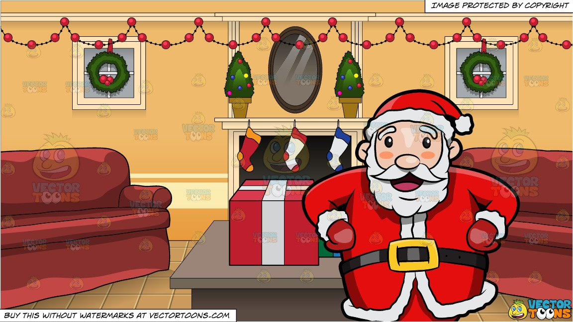 A Happy And Very Jolly Santa Claus and A Living Room Decorated For Christmas.