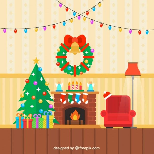 Colored christmas living room I Free Vector.