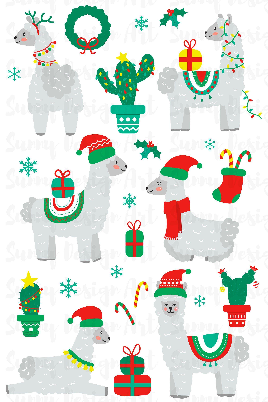 Christmas Llama Clipart Decorated Llama Llama Alpaca Vector.