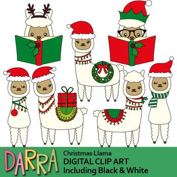Christmas Llama Clip Art.