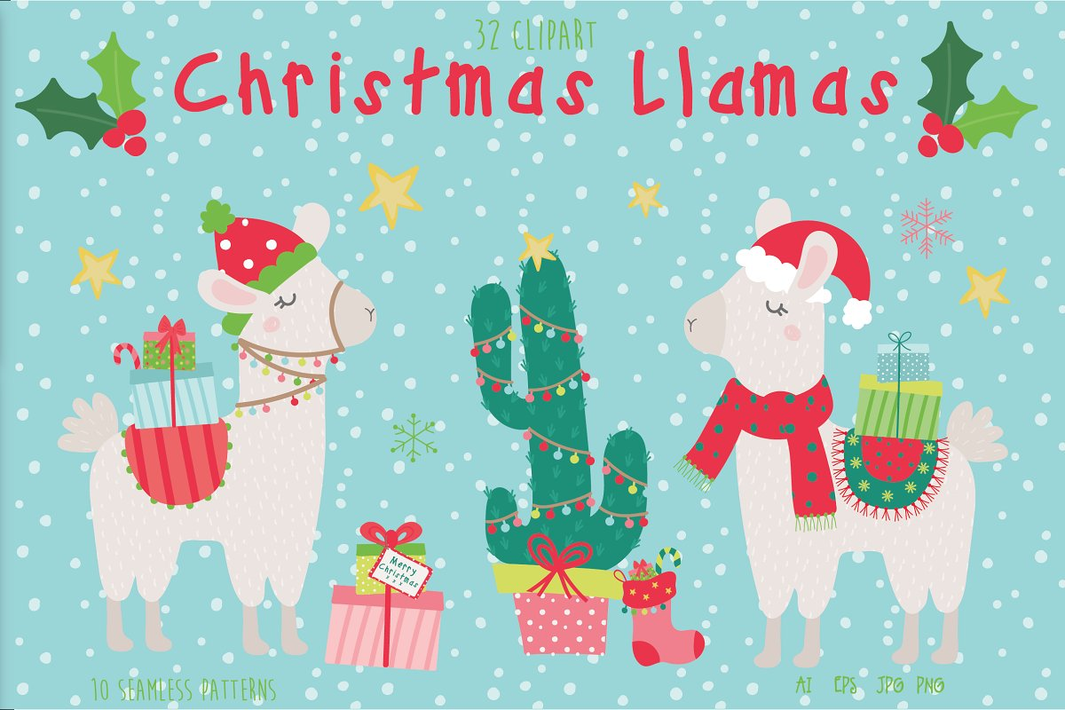 Christmas Llamas ~ Illustrations ~ Creative Market.