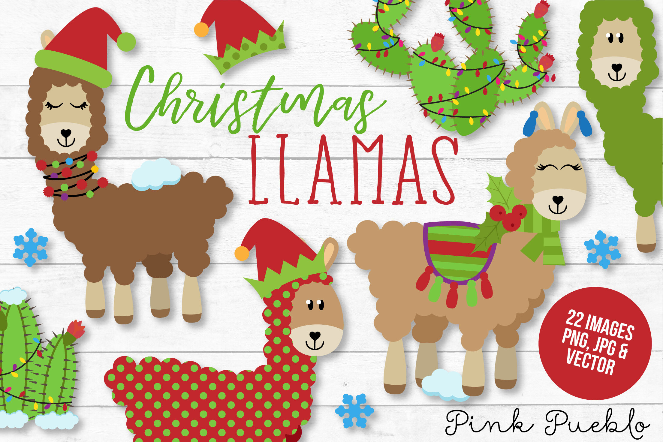 Christmas Llama Clipart and Vectors By Devon Carlson.
