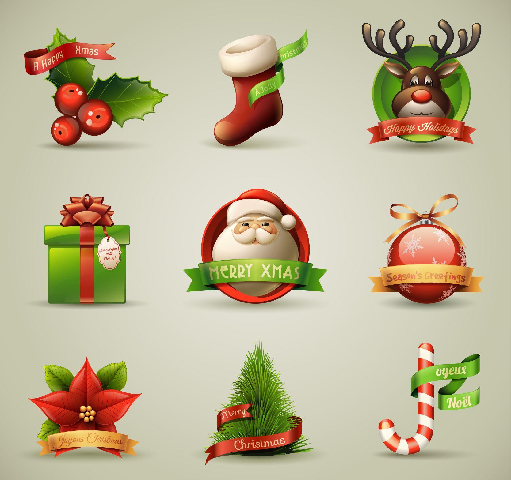 Christmas logos vector.