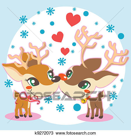 Reindeer Christmas Love Clipart.