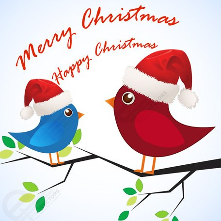 Free Merry Christmas Love birds Clipart and Vector Graphics.