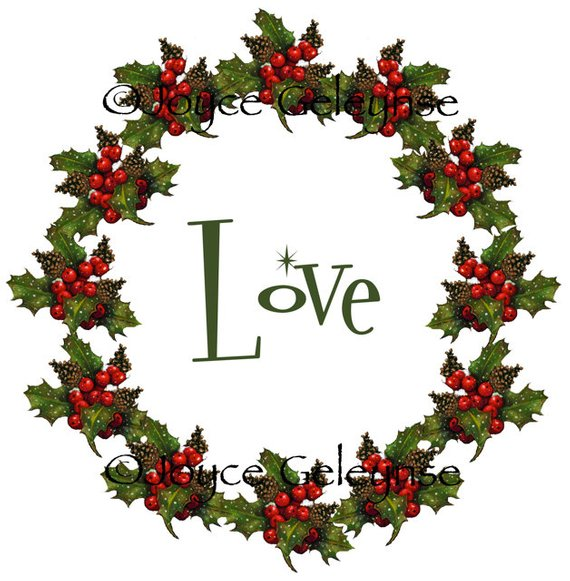 Clip Art, Christmas Wreath with LOVE, Freehand Art Holly, Berries.