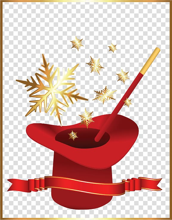 Magic , Christmas magic red hat transparent background PNG.