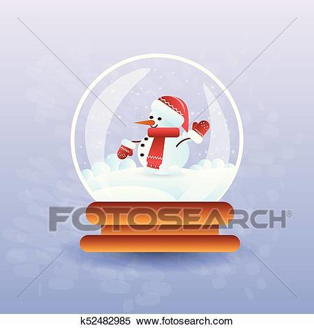 Cute Snowman In Christmas Magic Ball Clipart.