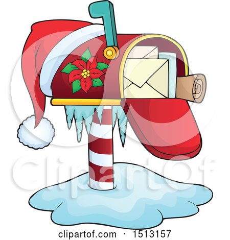 Clipart of a Christmas Mailbox with a Santa Hat.