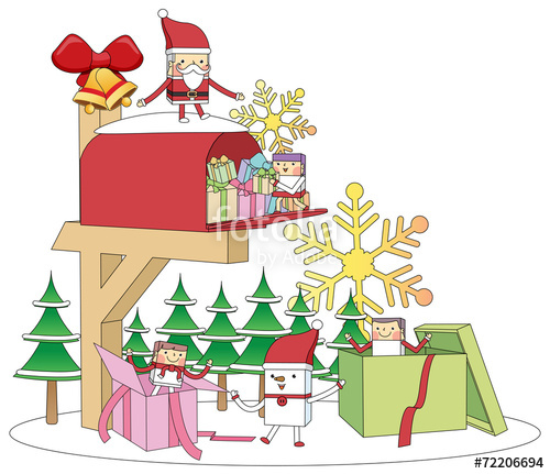Christmas Mailbox gift concept line illustration