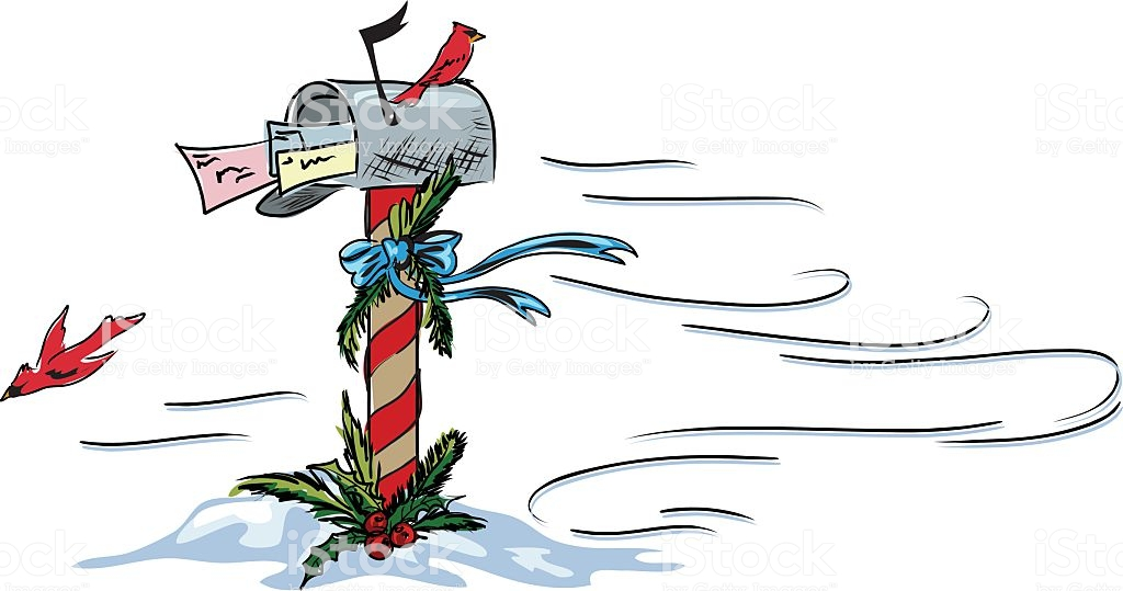 Hand Drawn Holiday Mailbox Clipart Stock Illustration.