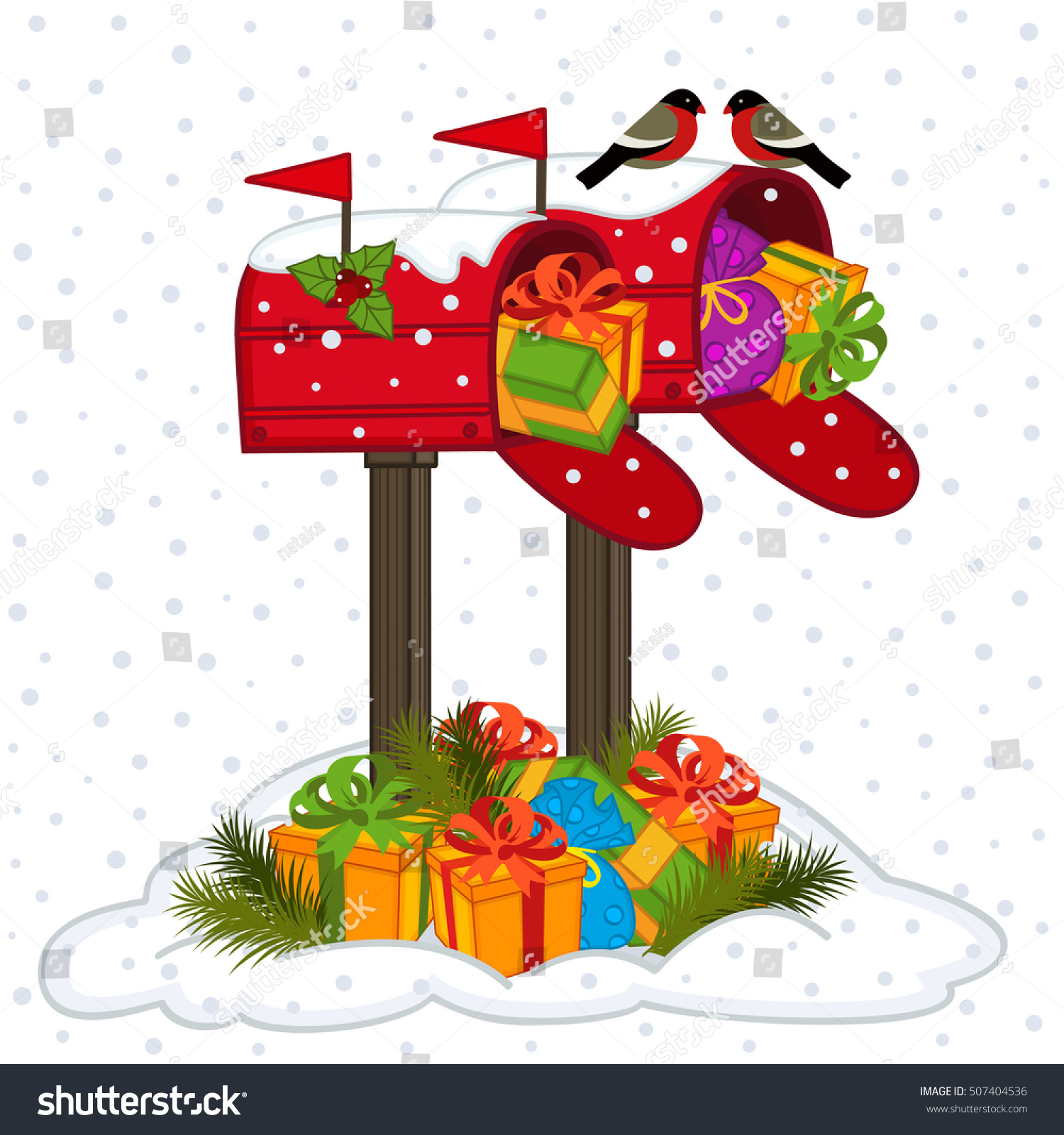 Mailbox Christmas Gifts Vector Illustration Eps Stock Vector.