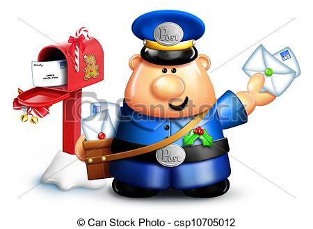 Whimsical Cartoon Christmas Mailman.