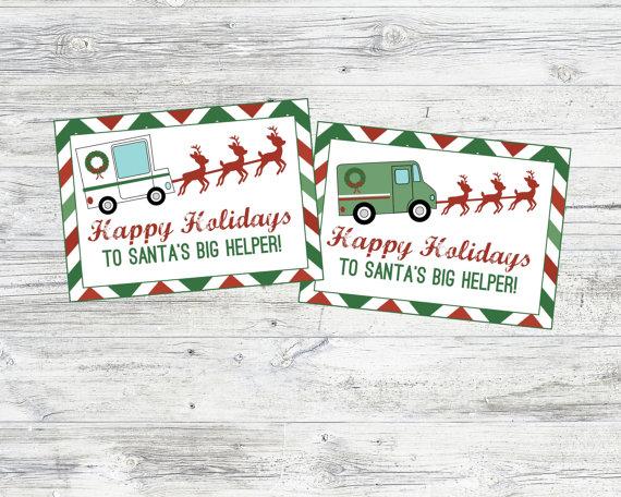 Christmas Mailman & Deliveryman Tags. Mailman Gift Ideas.
