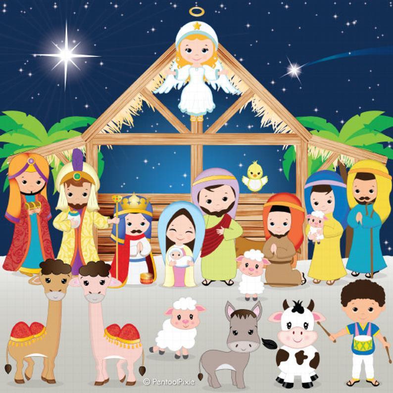 Nativity clipart, Nativity clip art, Christmas clipart, Jesus, Mary,  Joseph, Manger, Shepherds, Baby Jesus, Holiday, Stable, Angel.