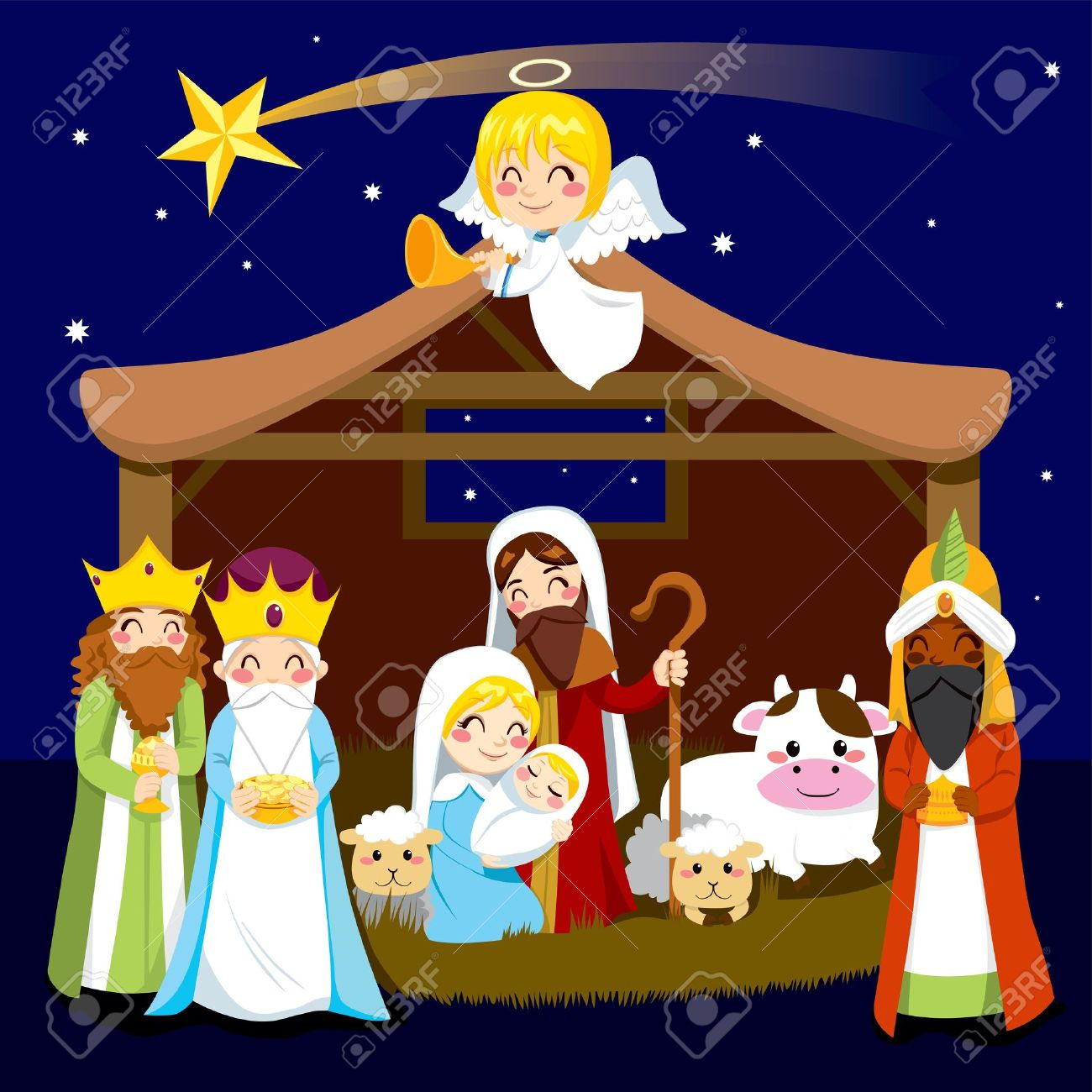 animated nativity scene clipart #5