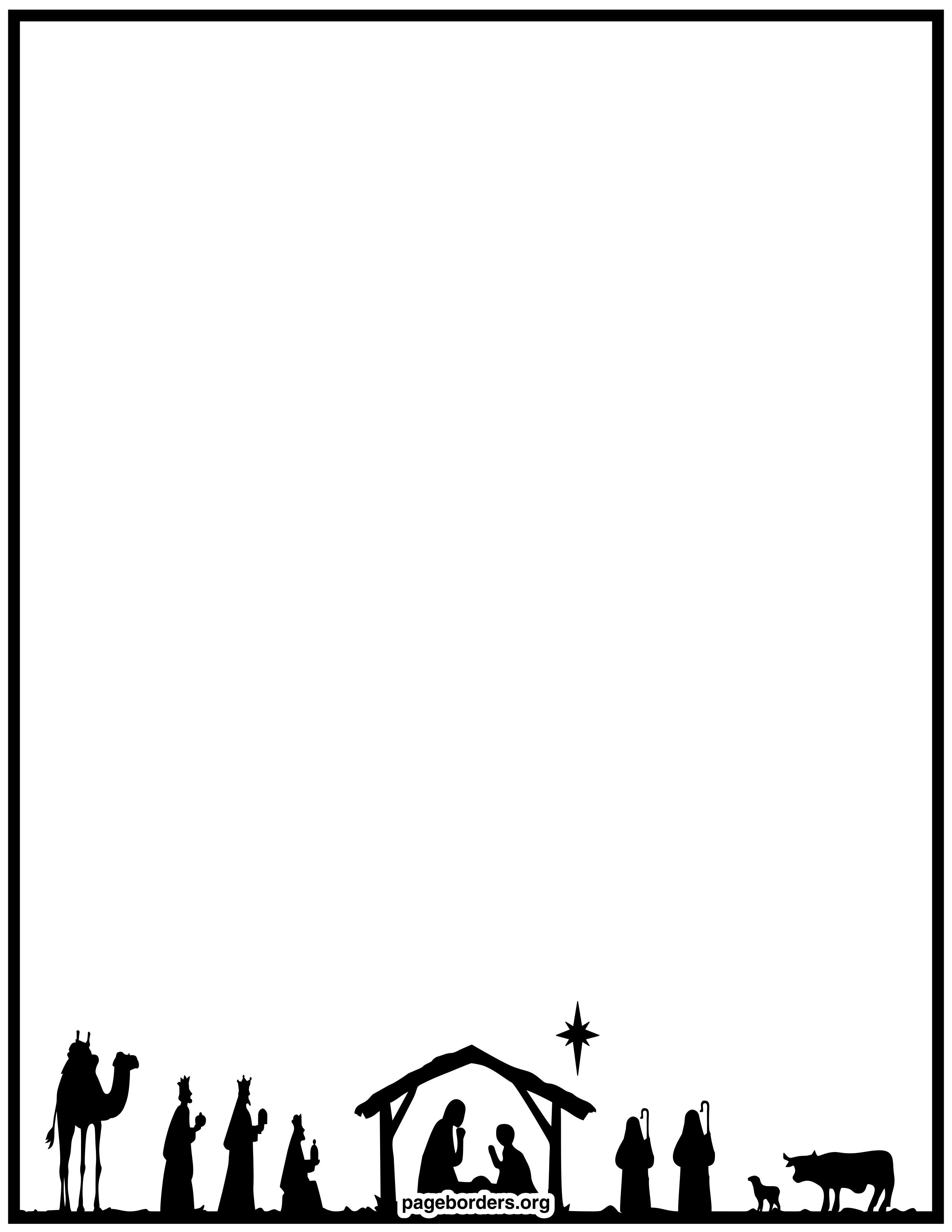 Christmas Manger Scene Border Clipart.