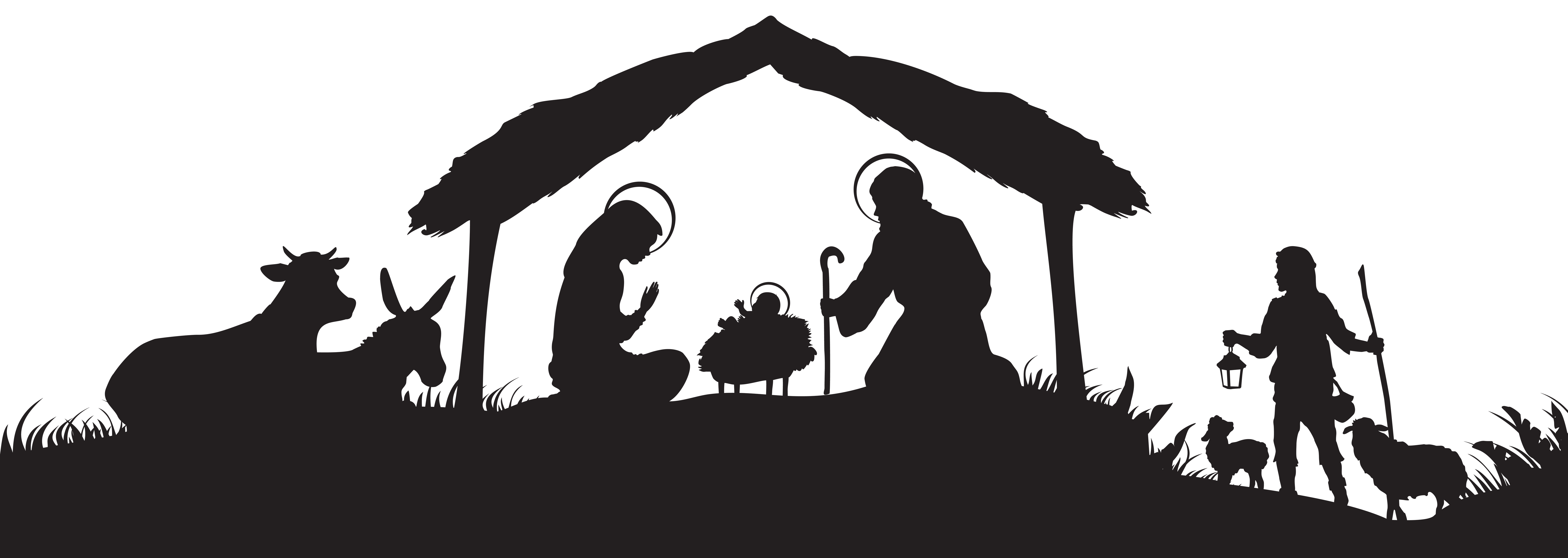 Christmas Nativity Scene Silhouette PNG Clip Art Image.
