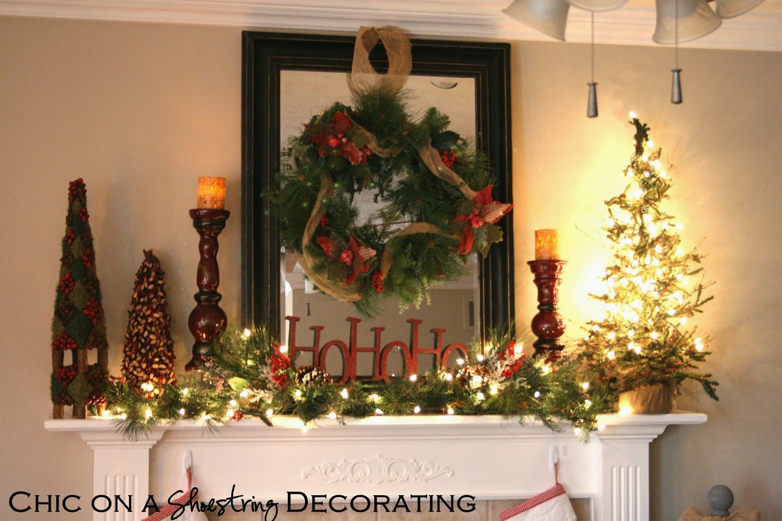 Chic on a Shoestring Decorating Rustic Christmas Mantel for.