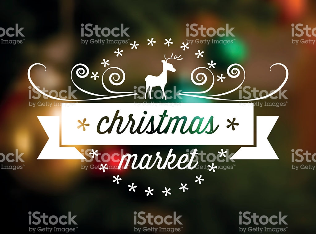 Christmas Market Line Art Icon On Blurred Background stock vector.