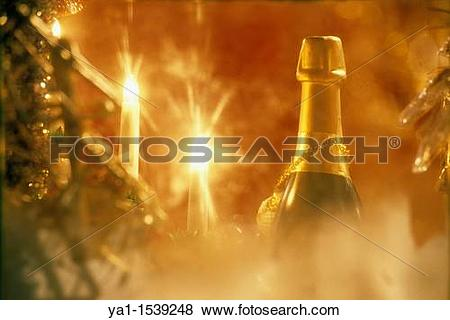 Pictures of Champagne bottle and Christmas tree illumination.