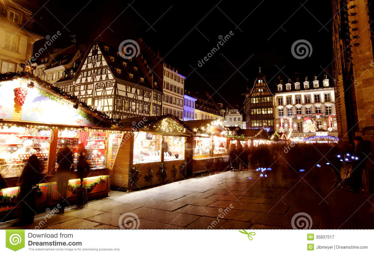 Christmas Market In Strasbourg Royalty Free Stock Photography.