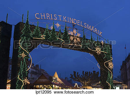 Stock Image of ILLUMINATED WELCOME SIGN GATEWAY AT TWILIGHT.