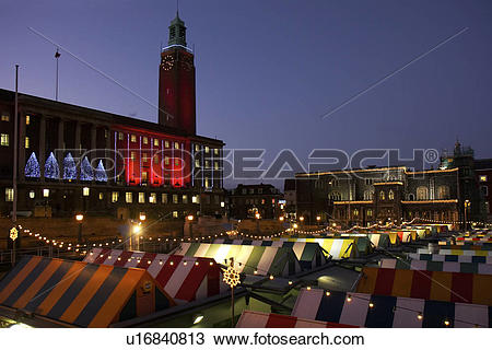 Stock Photo of England, Norfolk, Norwich, A night time view of an.