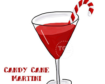 Martini Glass With Candy Cane Clipart.